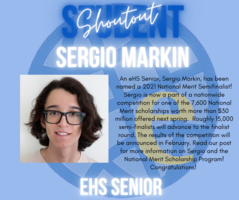 Student Shoutout - Sergio Markin named National Merit Semifinalist