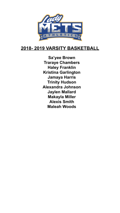 Lady Mets Varsity Basketball