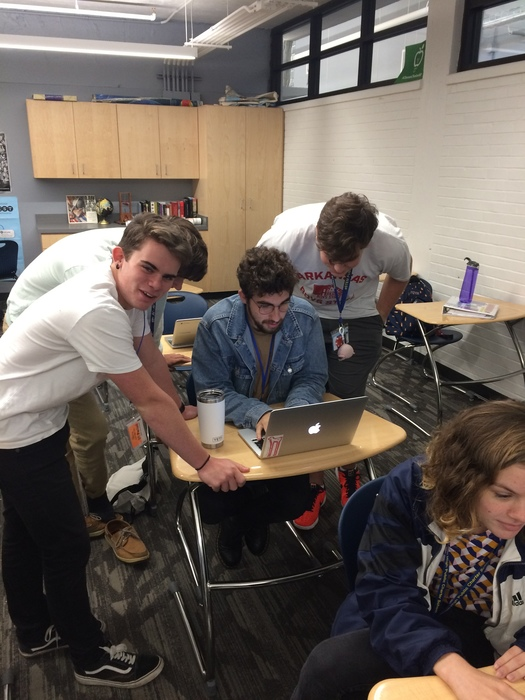 Sam Smith, Jack Peterson, Nathanael Davis, Miller Bacon, and Claudia Smith exploring different research methods for their capstone projects.