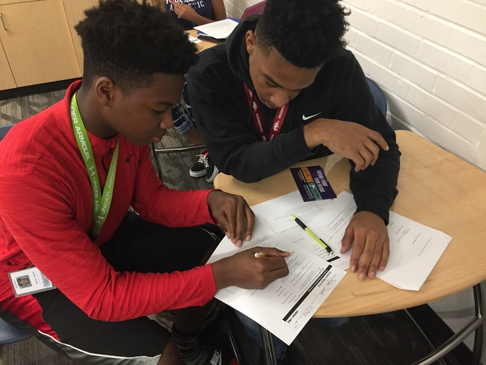 Jaylon Smith and Tylon Gause working on a quiz over the English Civil War.