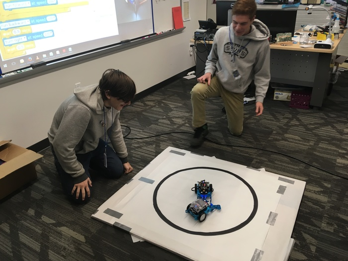 @eStemHighPCS   eStem's students in Dr Blake's robotics class engages in one-on-one mortal combat between their robots. May the best robot win!