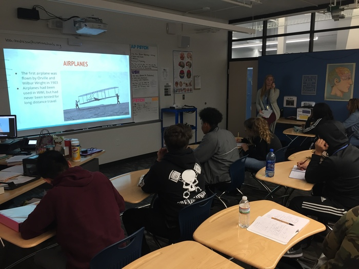 Ms. Anderson's United States History class learning about the Wright Brothers and the invention of the airplane.