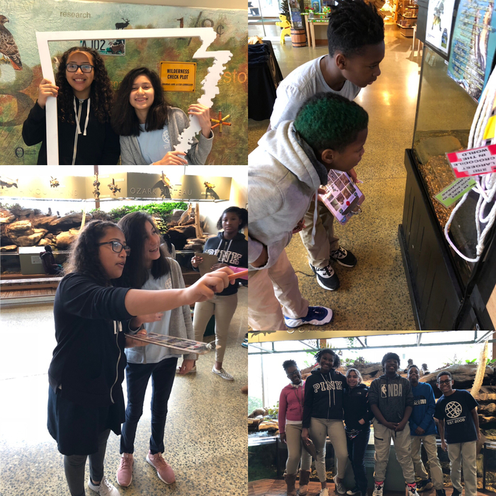 6th graders exploring the Nature Center in their field trip!