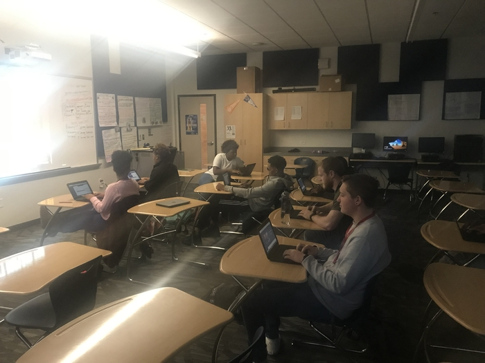 eStem High's Noble class - working diligently on their Digital Portfolios