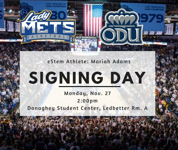 Join us Monday Nov 27 when Mariah Adams signs with ODU!