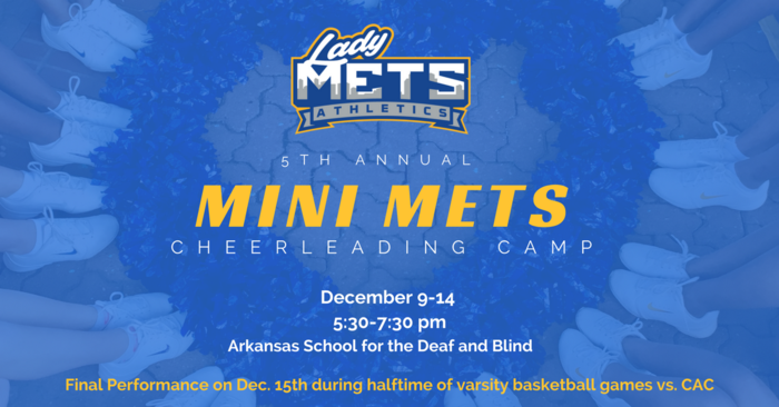 mini mets cheerleading camp december 9-14 5:30-7:30